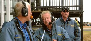 Australian International Airshow commentators - Peter Clements former member of the RAAF Roulettes and commercial airline pilot, Peter Meehan (centre) and Nick Harris airshow commentary coordinator